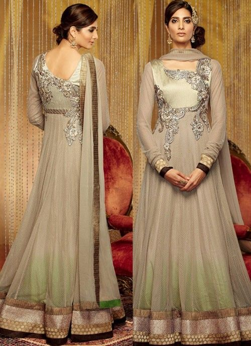 Elegant #Gray #Suit With Patch Patti Work