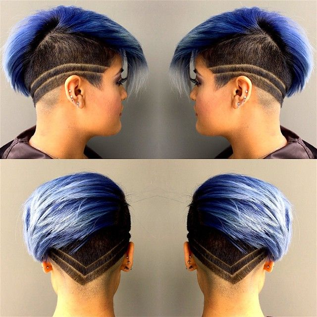 blue hair with undercut pixie cut