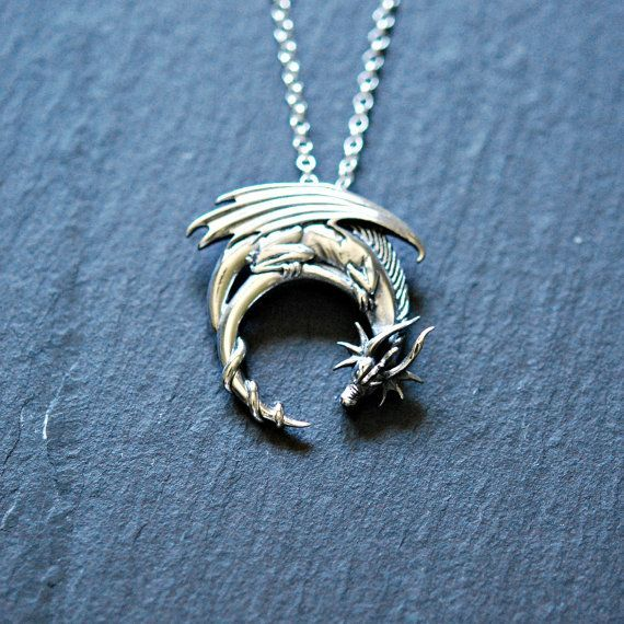 Sterling silver dragon necklace - winged dragon on moon pendant - goth medieval symbolic necklace - dragon jewelry - charmed2