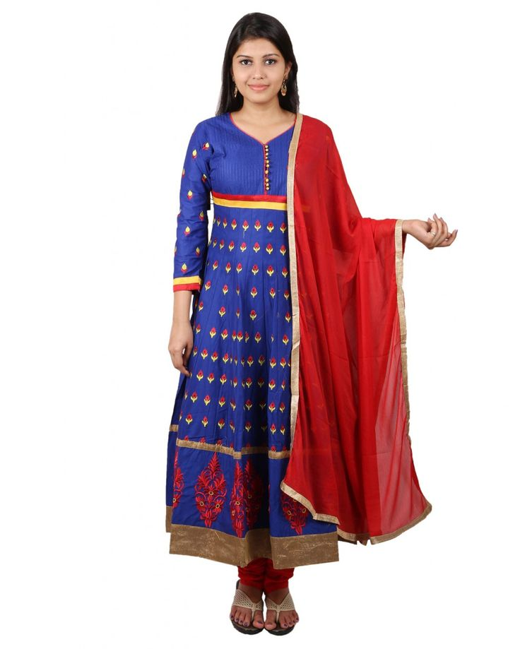 Gorgeously mesmerising is what you will look at the next social function by wearing royal blue colored suit set by Purple you.This attractive suit set is the flav