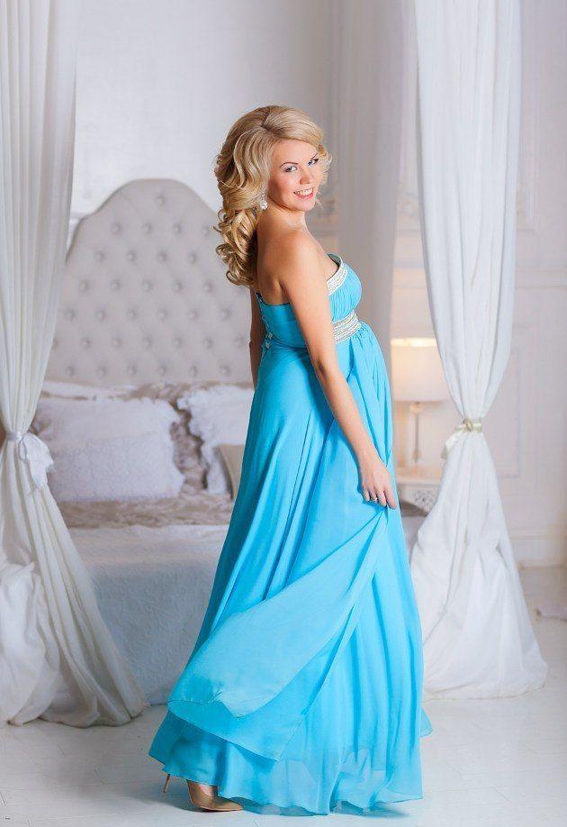 Голубое платье для фотосессии беременной