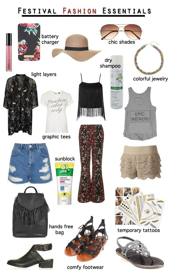 See 19 music festival fashion and beauty essentials on Fashion Trend Guide. #Coachella #FestivalFashion