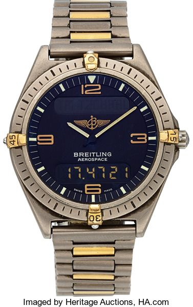"FOR A LIMITED TIME - Ends On 2017-10-24 17:50 (GMT) - Breitling Titanium F 56061 ""Aerospace"" Multi-Function Wristwatch. ... Breitling Titanium F 56061 ""Aerospace"" Multi-Function Wristwatch Case: 40 mm, three body, titanium, rotating bezel with gold rider tabs Dial: charcoal gray, inclined minute ring with luminous markers at the hours, golden numerals and luminous baton hands Movement: quartz, two time zones, timer, alarm, chronograph, day, date and month functions Band: ti"