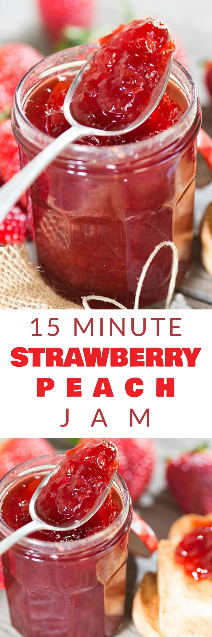Homemade 15 MINUTE Strawberry Peach Jam recipe that makes a small batch 8 oz jar without pectin! This healthy, easy recipe is a low sugar jam made with honey that makes a perfect jam for toast, dessert and more. I love canning this recipe too!