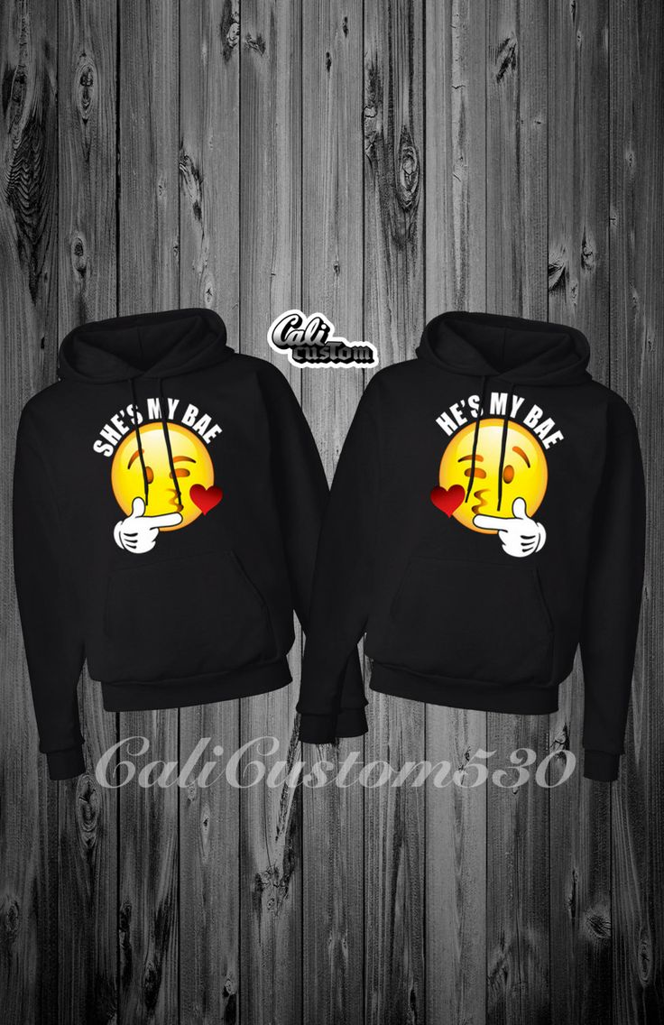 2 matching shes my bae and hes my bae kissing emoji black hoodies first hoodie featuring she my bae  with kissing emoji second hoodie featuring hes my bae with kissing emoji very unique and high quality