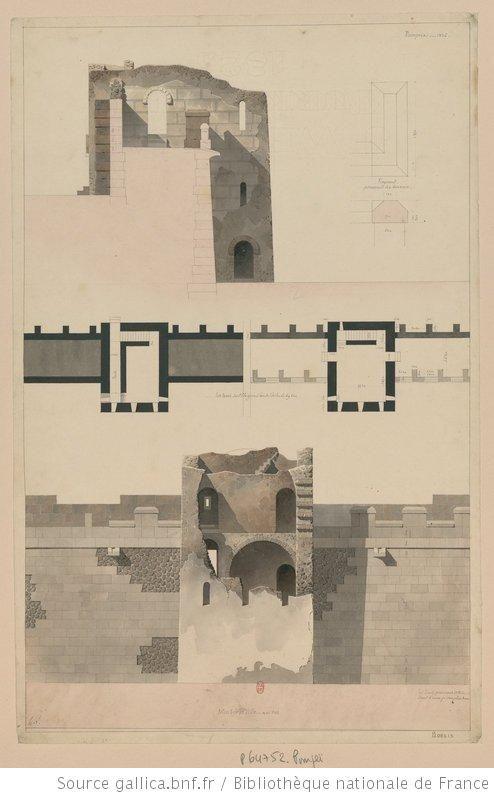 [Voyage en Italie : 1824-1830]. , Murs de la ville [de Pompéi] : [coupe, plan et élévation partiels] : [dessin] / h. L. [Henri Labrouste] - 1