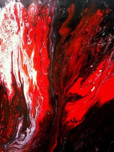 """Saatchi Art Artist Makis Zililis; Painting, """"The wolf on lava"""" #art"""