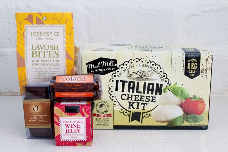 A gift for the foodie - an Italian cheese making kit and a food hamper for the cheese platter - pinot noir jelly, lavosh, fig & walnut rolada & chocolate truffle slice. http://www.giftloft.co.nz/collections/mens-hobbies-sport-gifts-golf-fishing-cheese-making