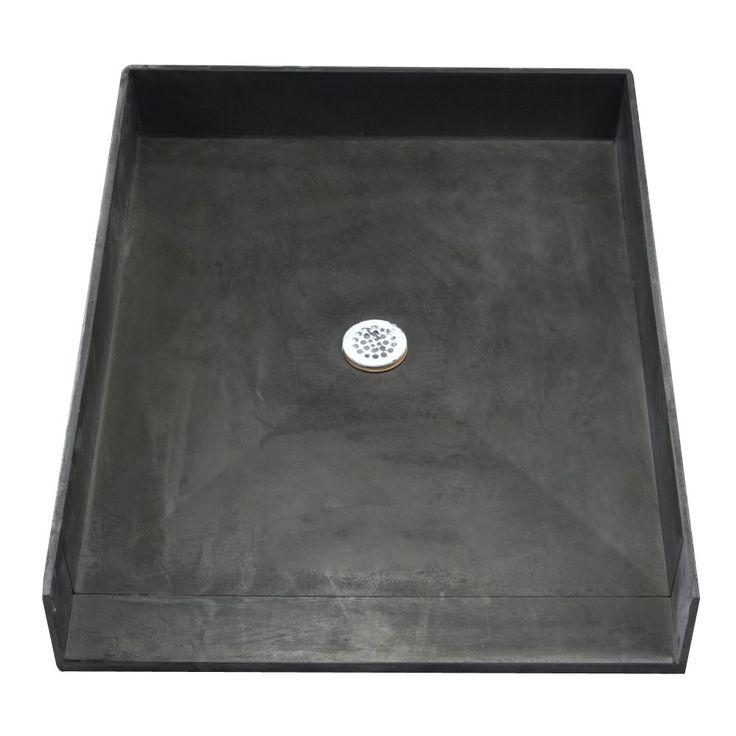 Tile Ready Shower Pan (46 x 37 Center Barrier Free PVC Drain) (Shower Pan black 46x37 C Barrier Free PVC Drain)