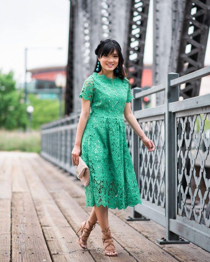 Chicwish Green lace dress