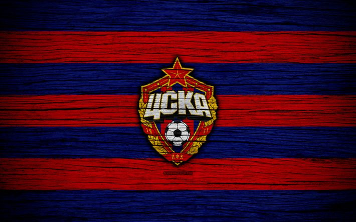 Download wallpapers FC CSKA Moscow, 4k, wooden texture, Russian Premier League, soccer, football club, Russia, CSKA Moscow, logo, art, CSKA, football, CSKA Moscow FC