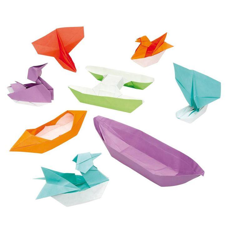 Traktatie in boot of eend vouwen: Wie kan er een catamaran, reddingsboot, of familie eenden vouwen? Met de stap-voor-stap uitleg kan iedereen het!. De set bevat 30 fel gekleurde A4 origami velle