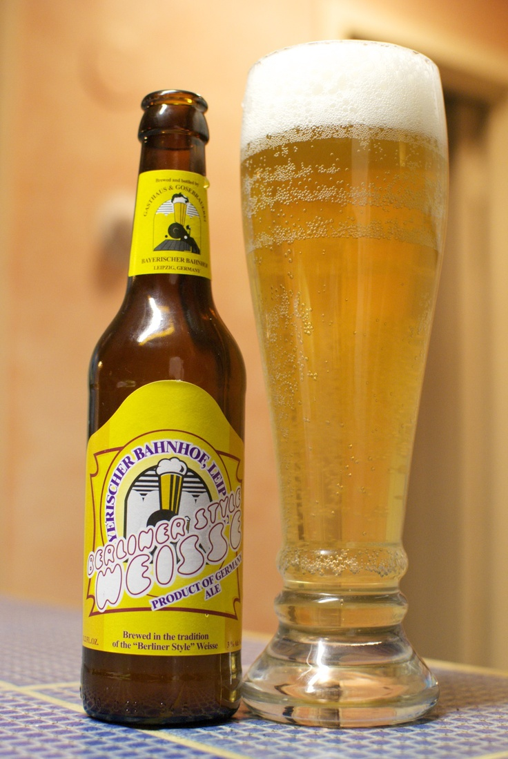 Bayerischer Bahnof Berliner Style Weissebier. Tastes like candy. Tart, soda-water flavor and mouthfeel. Often mixed with flavored syrups. If you prefer champagne over beer, you'll like this.