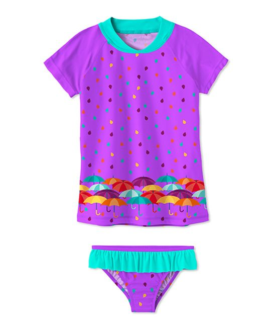Purple Umbrella Ruffle Rashguard Set - Toddler & Girls