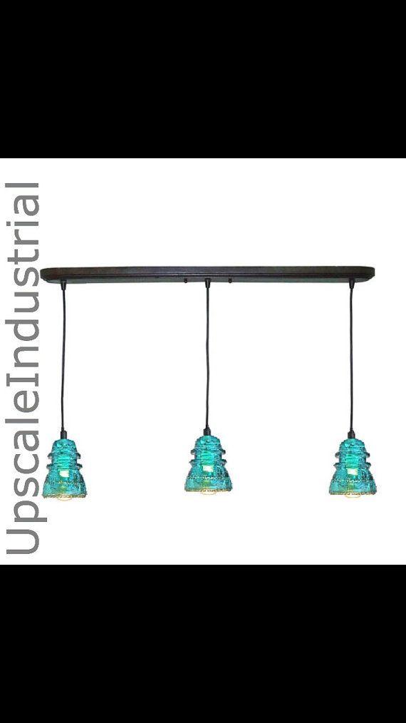 Custom VINTAGE 1920's-60's Repurposed Industrial Chandelier Glass Insulator Bar Pendant Light Pendant Lighting Kitchen Island Lighting
