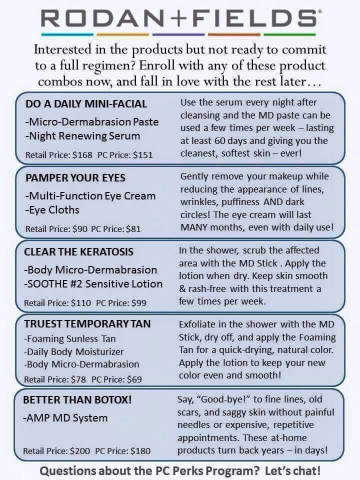 "Rodan + Fields ""Mini Regimen"" options. https://erinmanley.myrandf.com/"