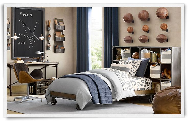 The three rows of sports balls above the bed are all organized the same. They can be taken in and understood with a single glance. Rooms | Restoration Hardware Baby & Child.
