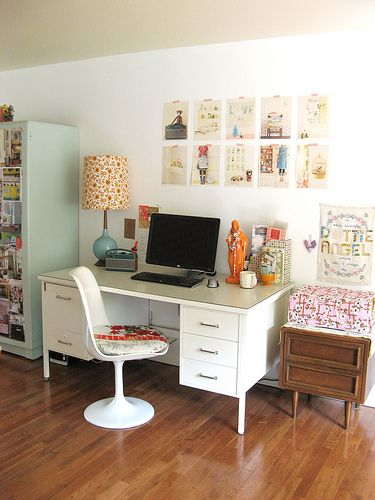 great space! love the color of the cabinet too!