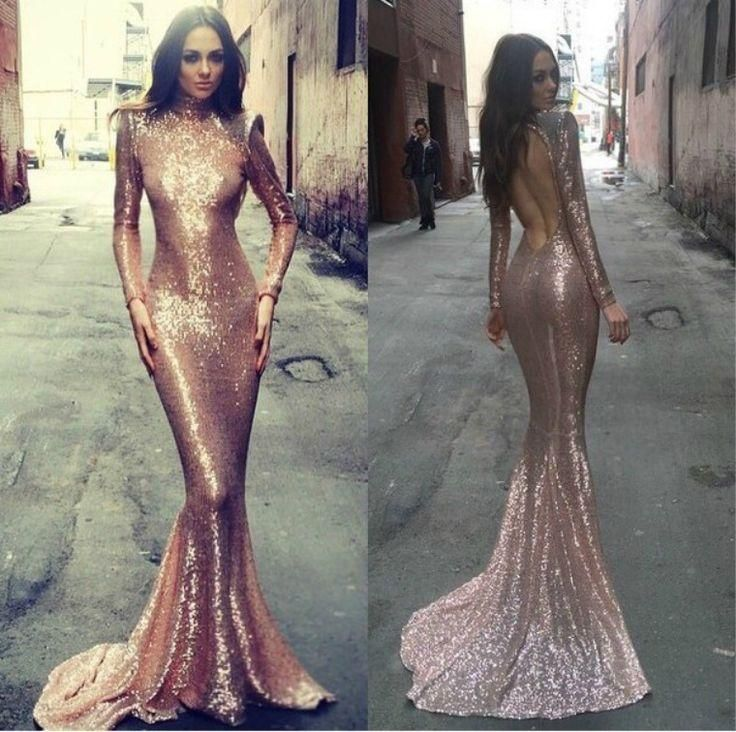 2016 Rose Gold Evening Gowns Prom Dress With Long Sleeves Sexy Mermaid With High Neck Blingbling Sequins Dresses Evening Wear Backless Glamorous Evening Dresses Gowns Dress From Lovemydress, $103.41| Dhgate.Com