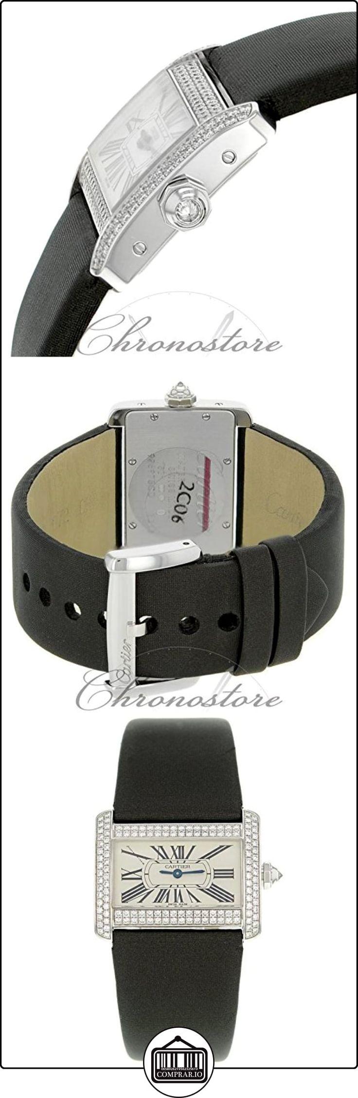 Mini somieres de Cartier Tank WA301236 de oro blanco de Original diseño de diamantes de cuarzo reloj de pulsera para mujer  ✿ Relojes para hombre - (Lujo) ✿