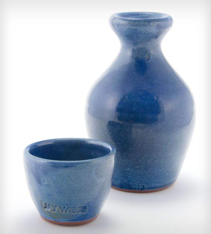 Blue Glazed Stoneware Sake Set