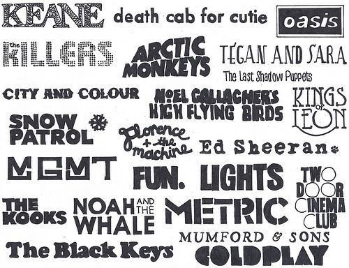 Coldplay, Mumford & Suns, The Black Keys, Fun, Ed Sheeran, Florence & the Machine, Kings of Leon, Death Cab For Cutie <3