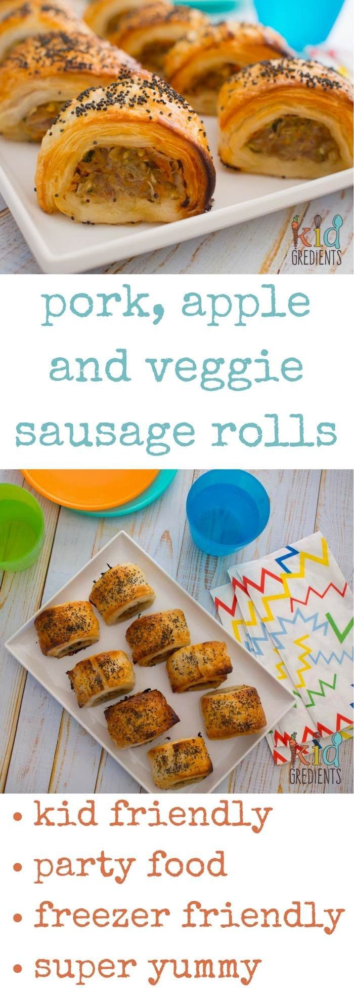Pork, apple and veggie sausage rolls perfect as a party food and great to have in the freezer! So yummy and filled with hidden veggies. Easy recipe the kids will love. #recipe #sausagerolls #partyfood #kidfood #kidfriendly #funfood #familyfood