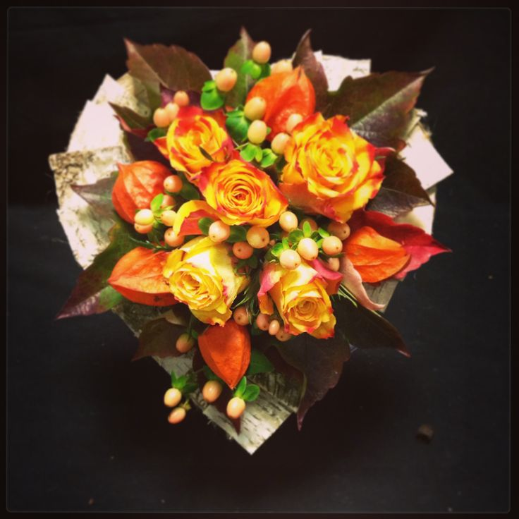 Autumn bridal hand tied with framework
