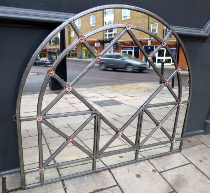 arched mirror made from an original antique window frame salvaged from the tate britain in - Window Frames For Sale