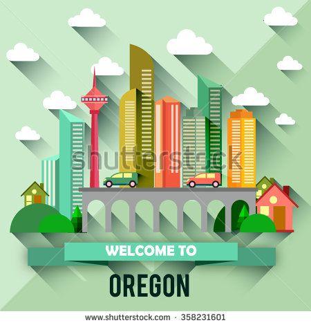 Oregon - Flat design city vector illustration - stock vector