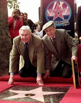 Don Knotts, right, and Andy Griffith appear together at the unveiling of a star for Knotts on the Walk of Fame in the Hollywood section of Los Angeles Wednesday Jan. 19, 2000. Knotts, in the memorable role of Deputy Barney Fife, played across from Griffith in the 'Andy Griffith Show.'