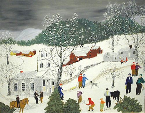Grandma Moses -- I had copy of this painting on my childhood bedroom wall - sweet