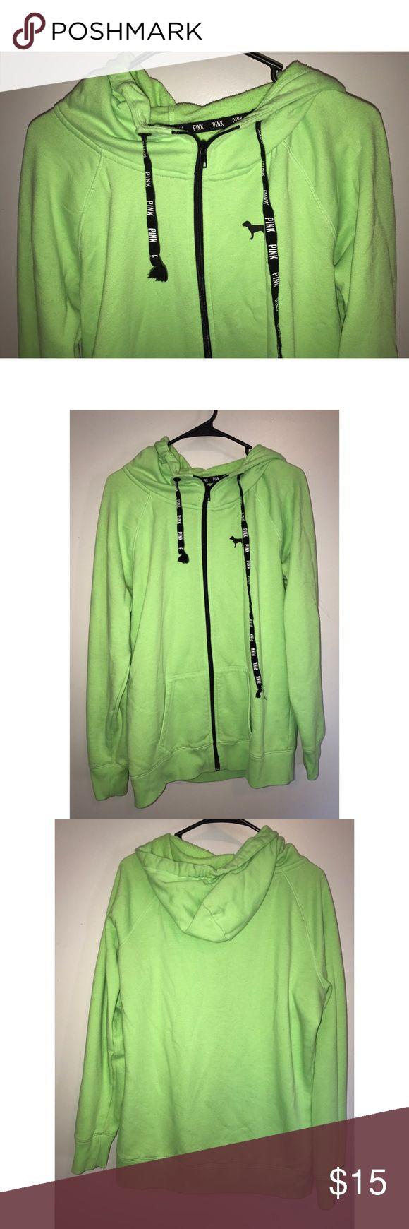 PINK Neon Green Zip-Up Sweatshirt Victoria's Secret PINK zip-up sweatshirt. Size large. In good condition. PINK Victoria's Secret Tops Sweatshirts & Hoodies