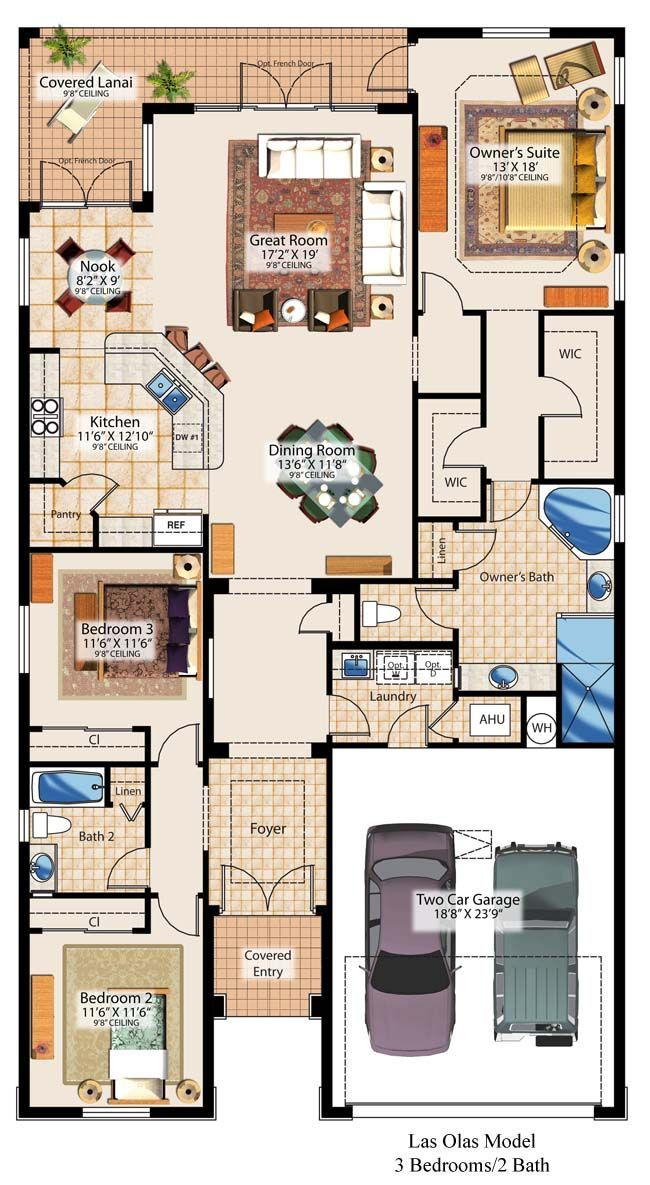 Turn the Great Room around and place a two sided fireplace between great room and master bedroom.
