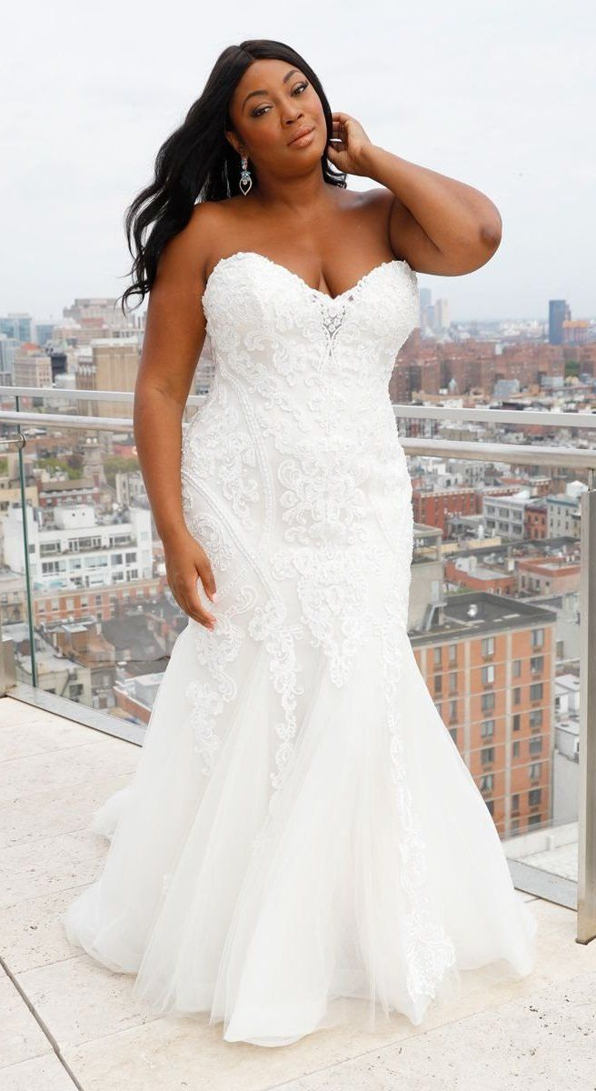 96c53a8abef9 Fit-and-flare in gorgeous lace by #MaggieSottero. #Maggiebride #curves  #loveyourcurves #plussize #bridaltrends #romanticbride #classicbrides