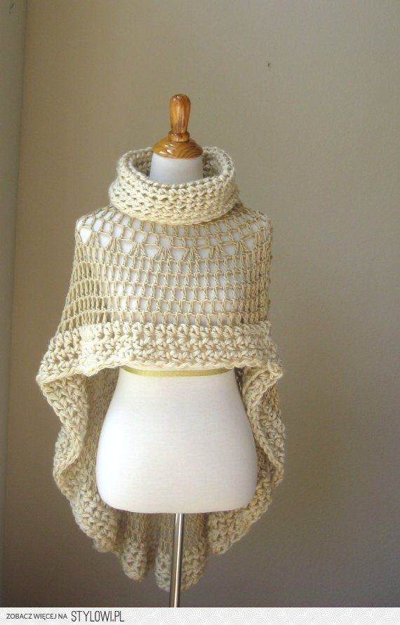 BEIGE BOHEMIAN PONCHO Crochet Knit Cream Cape Shawl by… na Stylowi.pl
