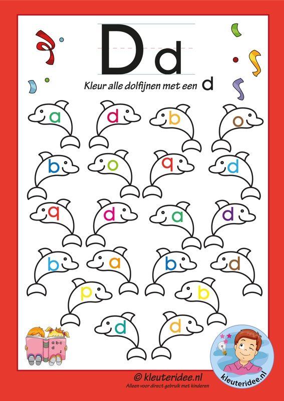 Pakket over de letter d blad 6, kleur alle dolfijnen met een d, letters aanbieden aan kleuters, kleuteridee.nl, free printable.