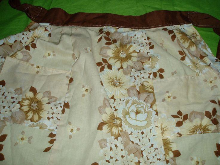 apron , half apron , vintage apron , 60s apron , one size , vintage linens , adjustable apron , vintage kitchen , floral apron , retro apron by DivaDecades on Etsy