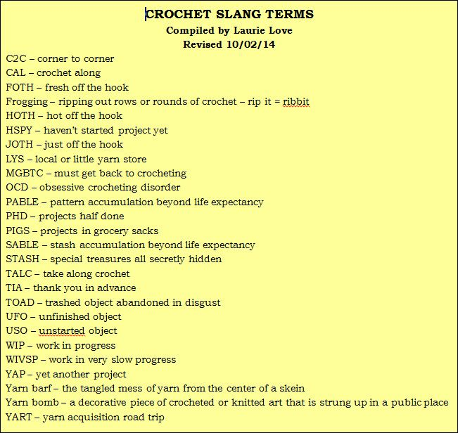 Image result for crochet slang terms