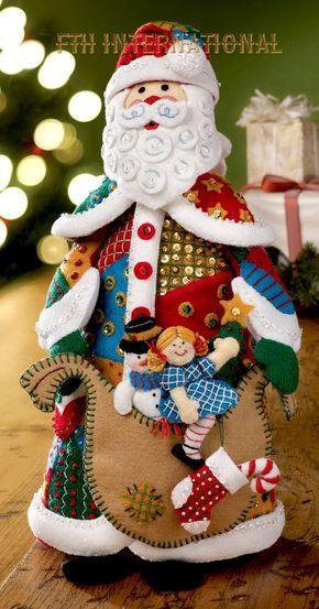Bucilla Patchwork Santa ~ Felt 3D Christmas Home Decor Kit #86206