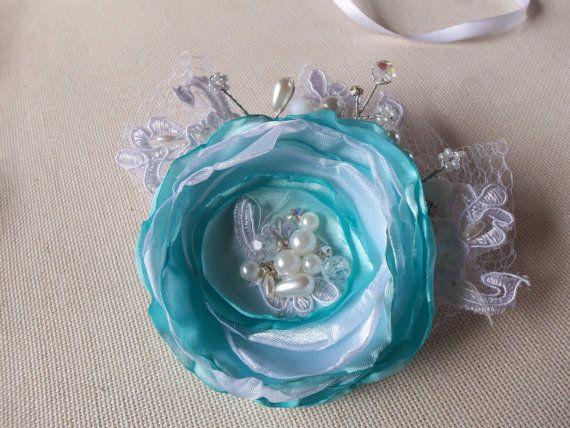 Свадебные волосы цветок Люкс волосы цветок Свадебные аксессуары для волос Свадебные аксессуары для волос Свадебные перья Урожай бирюзовый
