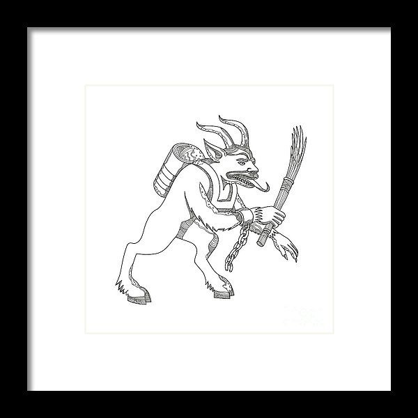 Doodle Framed Print featuring the digital art Krampus With Stick Doodle Art by Aloysius Patrimonio