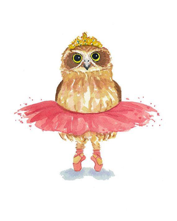 Ballet Owl Watercolor PRINT - Owl Painting, Ballerina Art, Pink Tutu, Owl Illustration, 8x10 Art Print