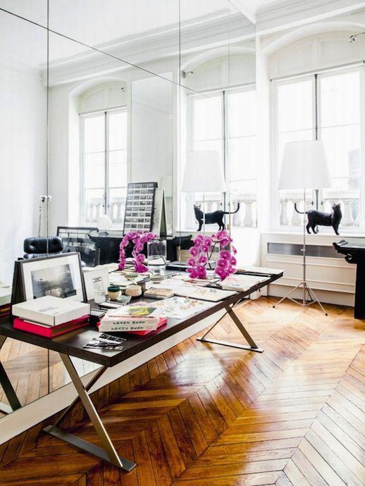 Le Fashion Blog A Fashionable Home Gaia Repossi Paris Apartment Via Vogue Russia Chevron Wood Floors Black Cat Large Side Table Pink Flowers Framed Art Parisian Interior Design 4 photo Le-Fashion-Blog-A-Fashionable-Home-Gaia-Repossi-Paris-Apartment-Via-Vogue-Russia-Chevron-Wood-Floors-4.jpg