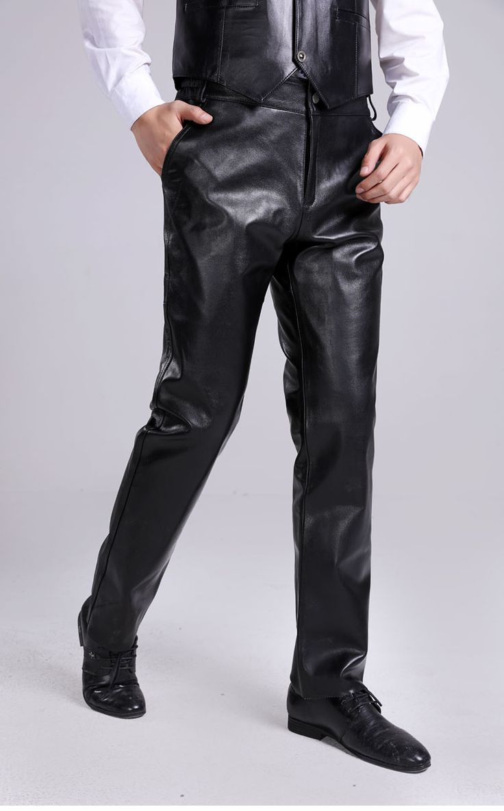 31-44 men Genuine leather suede lederhosen trousers winter thick full leather motorcycle male sheepskin pants