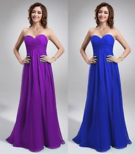 Cadbury Purple Strapless Chiffon Evening Wedding Bridesmaid(JS21) Dress 6-22