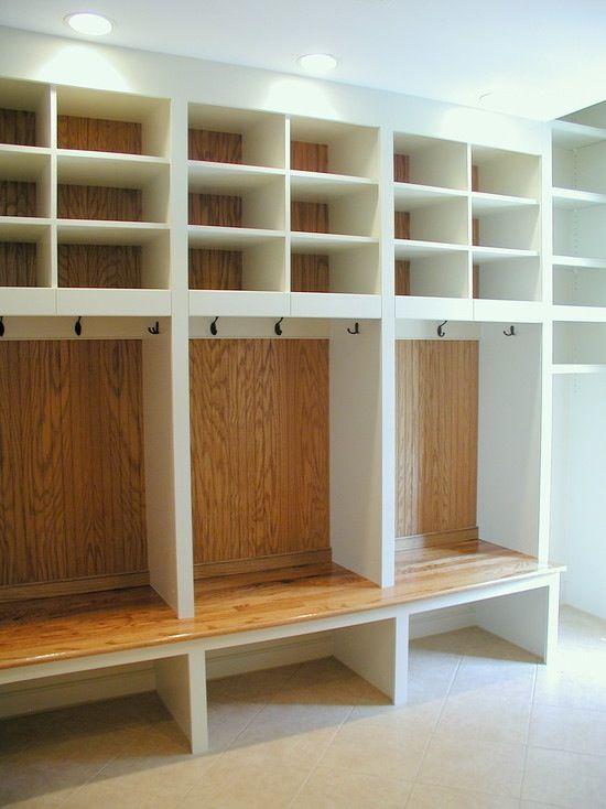 Coat and boot storage - 1 section for each family member - a must for a beach house or a ski chalet