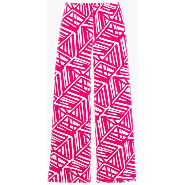 Line Game Palazzo Pants in Raspberry Rush ❤ liked on Polyvore featuring pants, patterned trousers, pink pants, print pants, pink trousers and palazzo trousers
