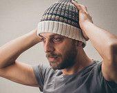 Men's knit hat, Men's knit beanie, Merino wool knitted beanie
