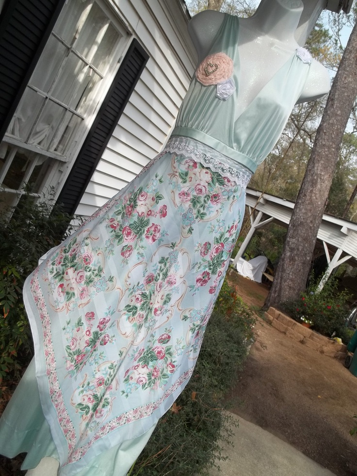 Upcycled+Slip+Dress+Maxi+Floral+Scarf+Wedding+by+Annierosevintage,+$78.00